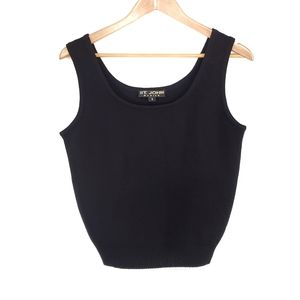 St John Black Knit Sweater Crop Tank Top Shell